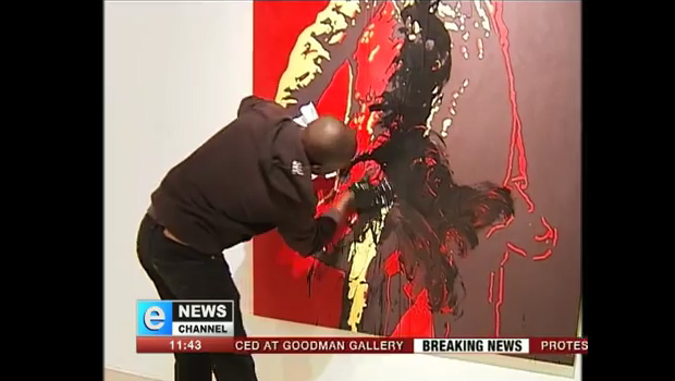 Controversial Zuma painting destroyed. Caught on video
