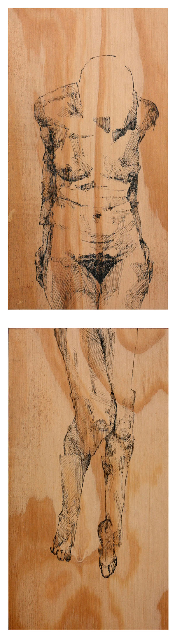 online fragmented female nude on plywood complete copy