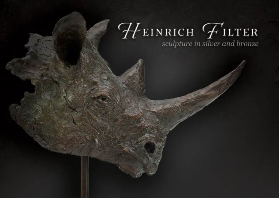 Black Rhino Bust in bronze by Heinrich Filter