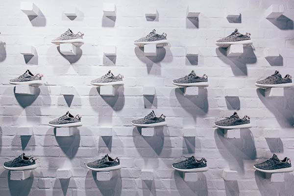 YEEZY BOOST LAUNCH_Shoe wall at AREA3