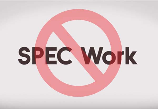 Creatives-Say no to spec work !